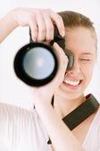 Meisje met spiegel camera — Stockfoto