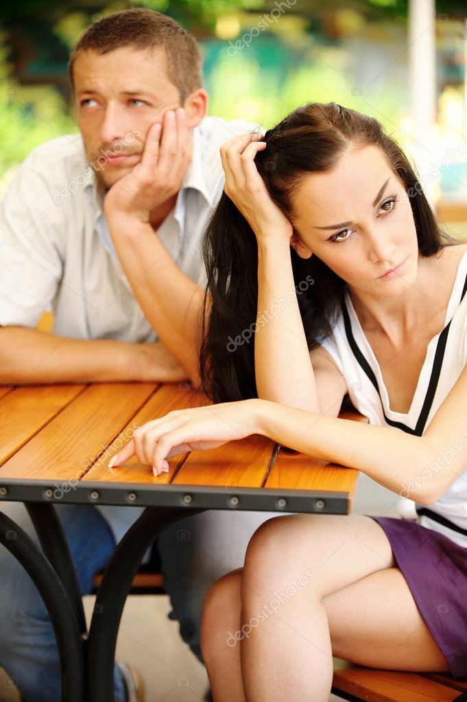 Quarrel between loved young man and woman. — Stock Photo #3764813