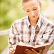 Girl-student reads book - Stock Photo