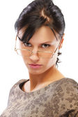 Beautiful brunette in glasses — Stock Photo