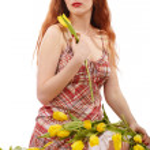 Girl with tulips — Stock Photo