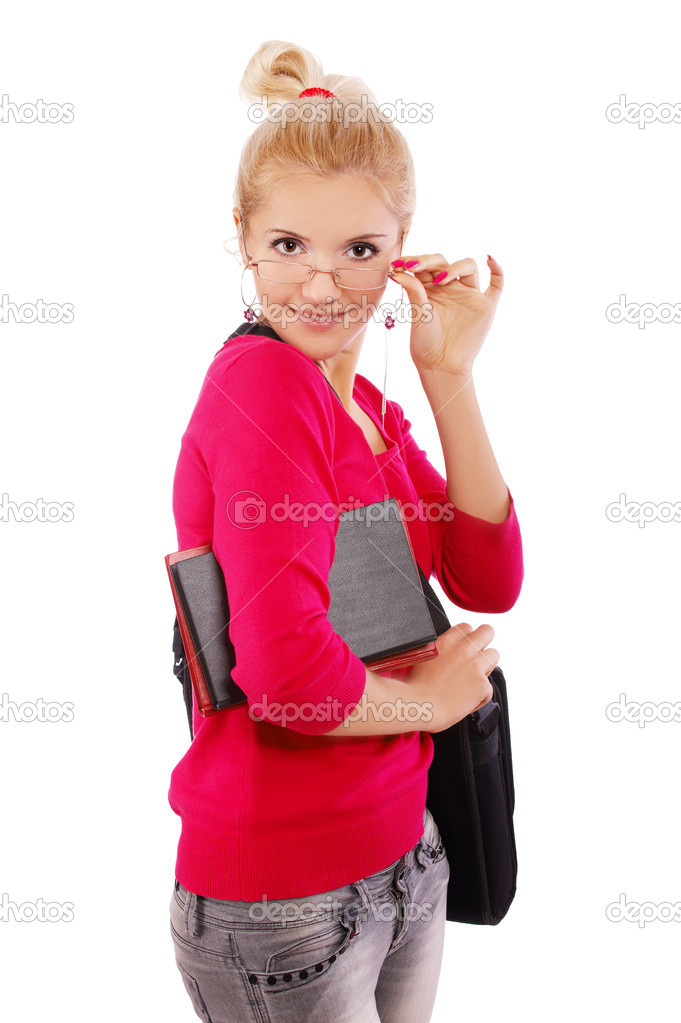 Portrait of blonde girl in glasses posing on white with laptop and books  Stock Photo #3866696