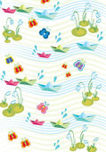 Childish background with paperships — Stock Vector