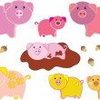 Background with different funny vector pigs — Stock Vector