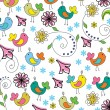 Floral background with funny birds — Stock Vector