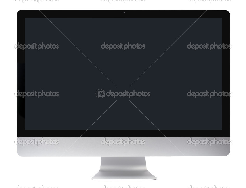 Metallic apple imac computer with flat-screen panel isolated with clipping path over white background  Stock Photo #2984482