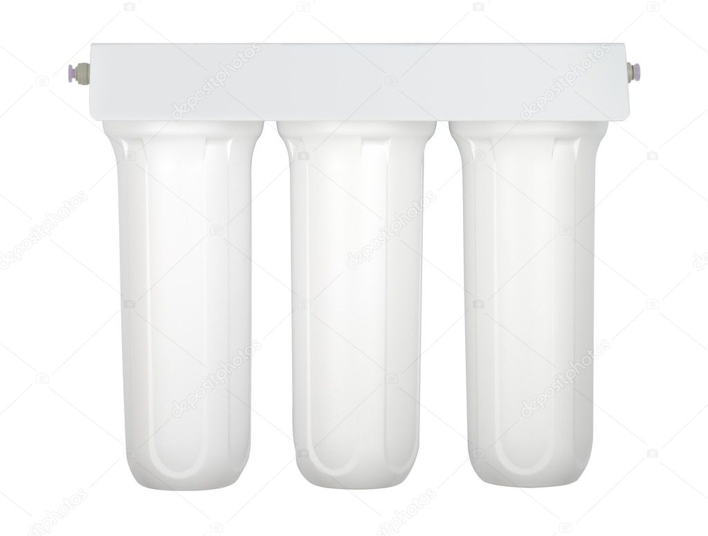 Modern tripple water cleaning filter isolated with clipping path on white — Stock Photo #3505018