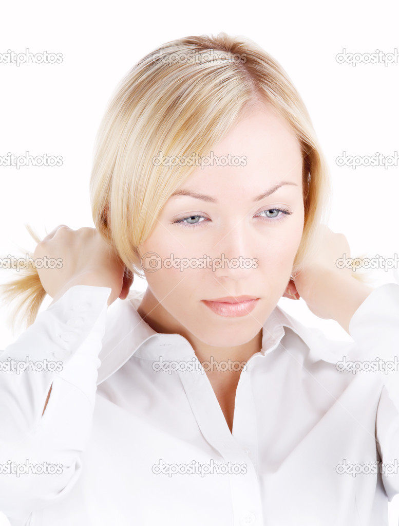 Portrait of the blonde looking aside, isolated — Stock Photo #2910136