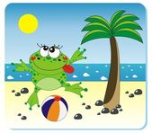 Frog with the ball on the beach — Stock Vector