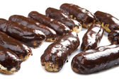 Chocolate eclair close up — Stock Photo