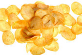 Chips on white close up — Stock Photo