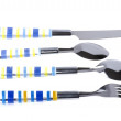 Utensil spoon with fork on white - Foto Stock