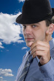 Men on hat macro — Stock Photo