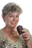 Woman with ice cream close up — Stock Photo