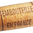 Wine cork with inscription embouteille en France — Stock Photo