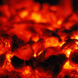 Stock Photo: Live coals in oven