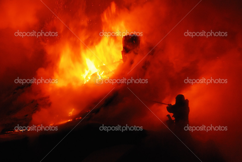 Firefighte in fire — Stock Photo #3498105