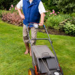 Senior man mowing the lawn — Stock fotografie