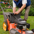 Senior man mowing the lawn — Stockfoto #3740418