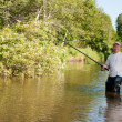 A fisherman fishing on a river — Stock Photo #3740472