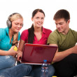 Stock Photo: Group of students having fun, doing home work