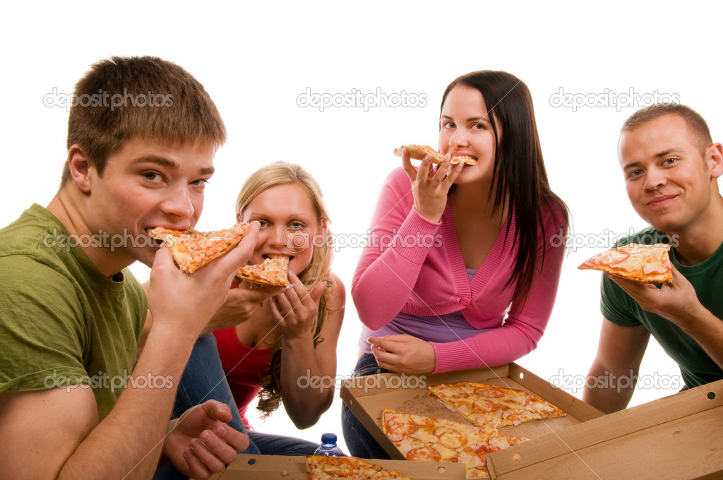 Friends having fun and eating pizza  — Stock Photo #3740377