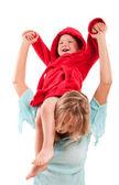 Portrait of happy mother with joyful son — Stock Photo