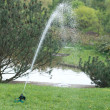 Sprinkler in japan garden — Stock Photo