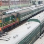 Trains on rails — Stock Photo
