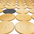 Gold dollar coin carpet on white — Photo