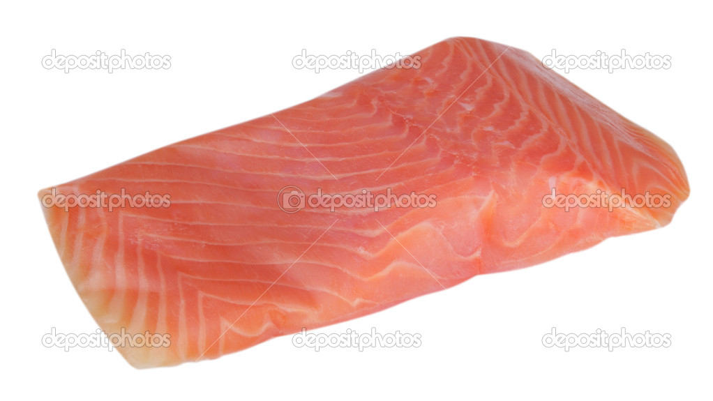 Piece of red fish fillet isolated on white stock photo for Piece of fish