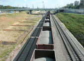 Goods train with bulk cargo — Stock Photo