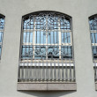 Windows of building with grid - Stock Photo