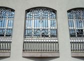 Windows of building with grid — Stock Photo