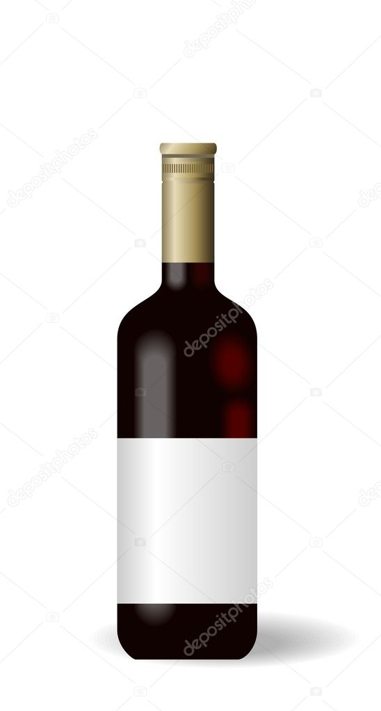 Illustration red wine bottle with label - vector — Stock Vector #2846015