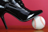 Baseball and the lady. — Stockfoto