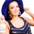 Young elegant woman in hat — Stock Photo