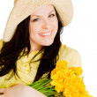 Spring woman holding flowers — Stock Photo #2970500