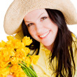 Spring woman holding flowers — Foto de Stock