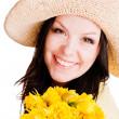 άνοιξη γυναίκα κρατώντας λουλούδια — Φωτογραφία Αρχείου