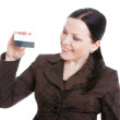 Businesswoman holding credit card — Stock Photo #2970812