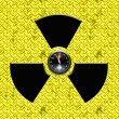 Radiation sign with clock inside — Stock Photo