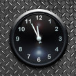 Stock Photo: Clock on metal wall