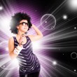 Afro singer holding microphone — Stock Photo