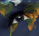 Země hodiny v oku — Stock fotografie