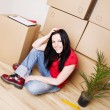 Woman moving to new house — Foto de Stock