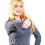 mujer rubia señalando bien cartel blanco — Foto de Stock