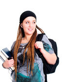 Teenager student holding backpack, books and looking on left — Stock Photo