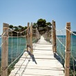 Wooden bridge with ropes over a sea in Zakhyntos — Stock Photo
