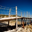 Wooden bridge with ropes over a river in Zakhynt — Stock Photo #3139047